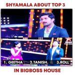shayamala on top 3 contestants