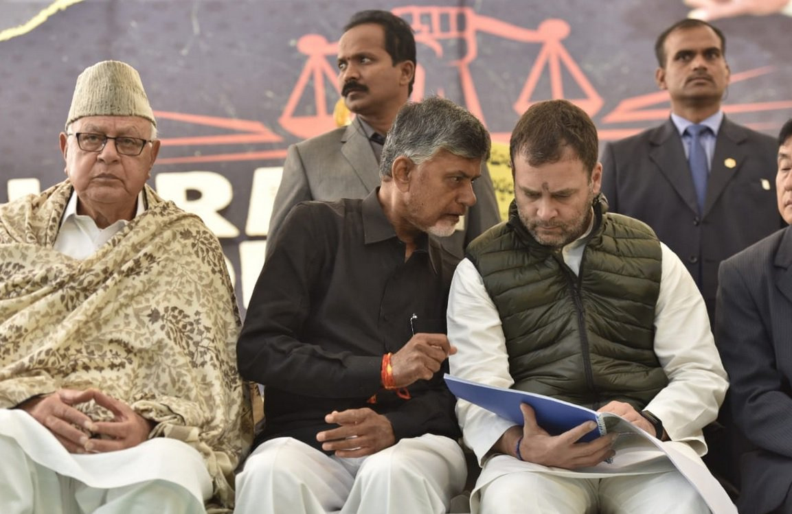 rahul gandhi farooq abdulla at chandrababu naidu deeksha in delhi